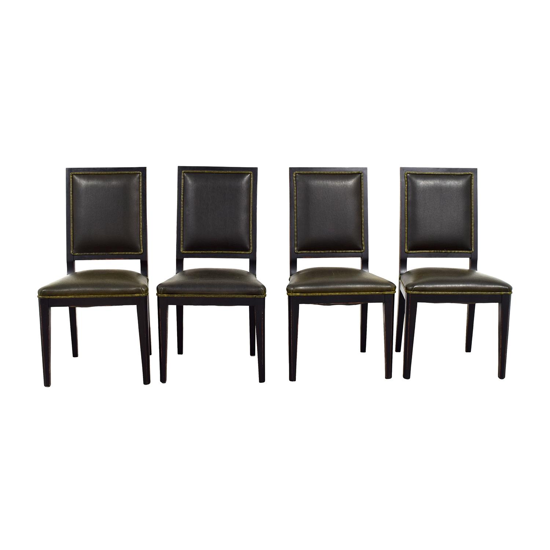 Crate & Barrel Crate & Barrel Sonata Dark Green Leather Chairs on sale