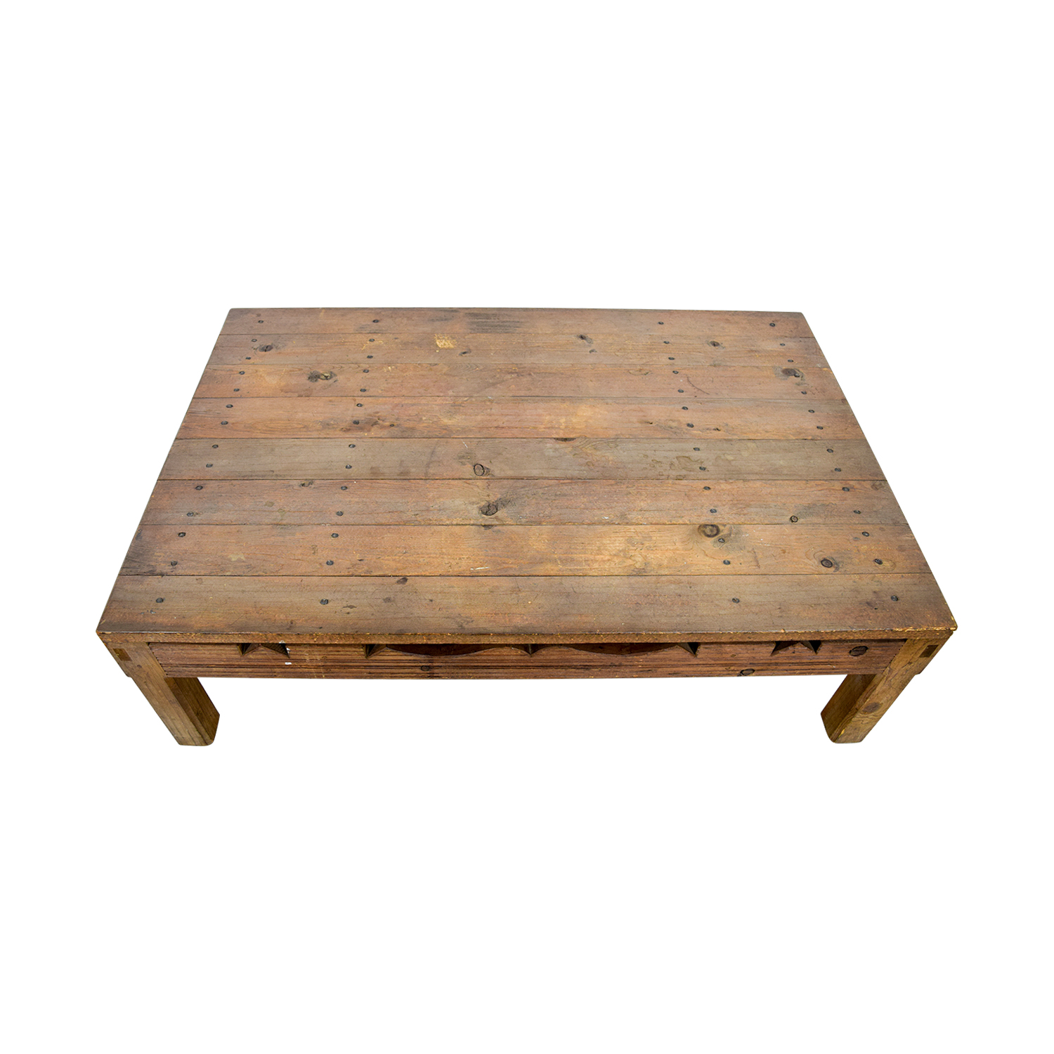 90 OFF Rustic Coffee Table With Cutouts Tables