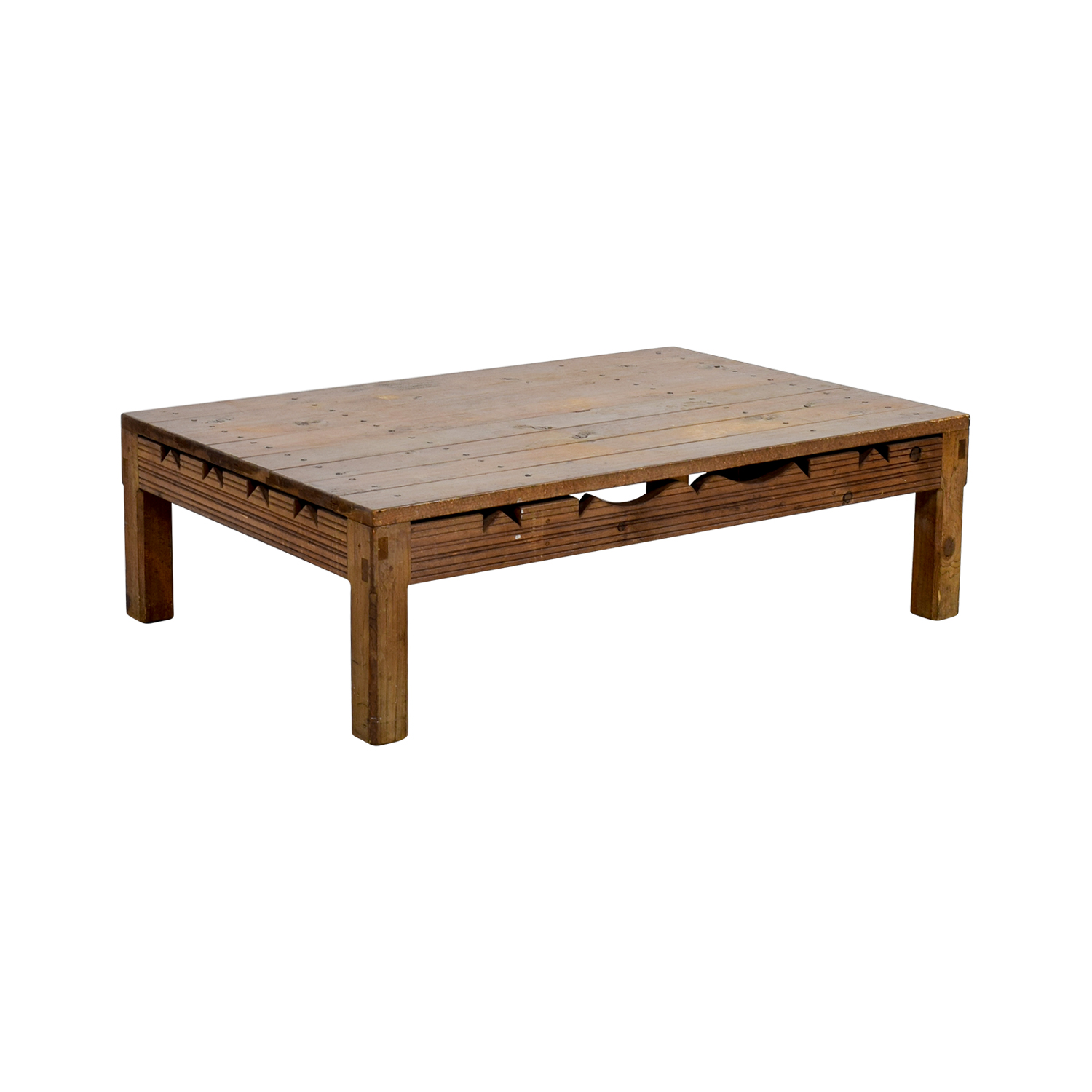 Rustic Coffee Table With Cutouts for sale
