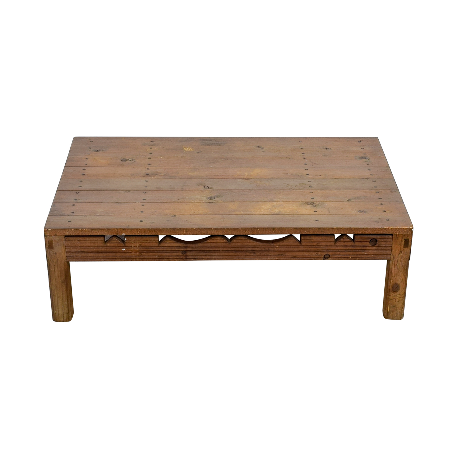 Rustic Coffee Table With Cutouts / Tables