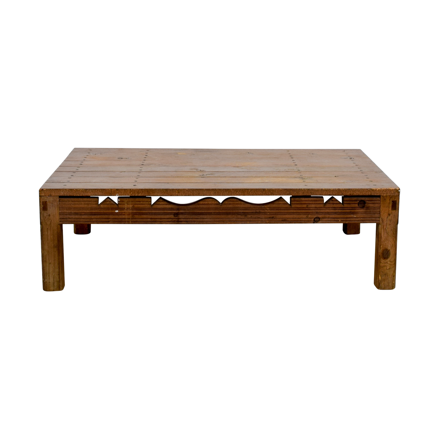 Rustic Coffee Table With Cutouts Coffee Tables