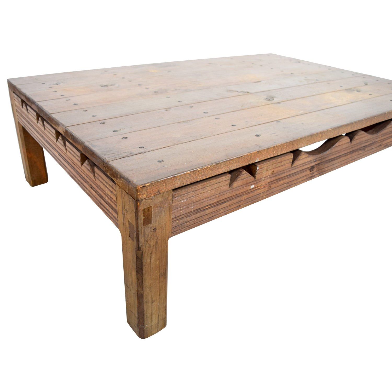 Rustic Coffee Table With Cutouts on sale