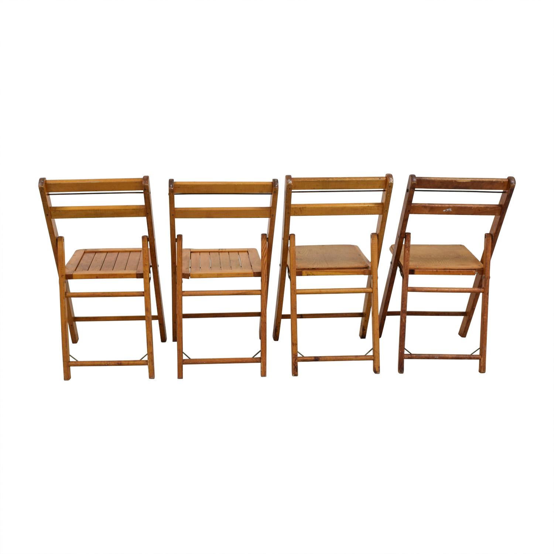 Rustic Wood Folding Chairs