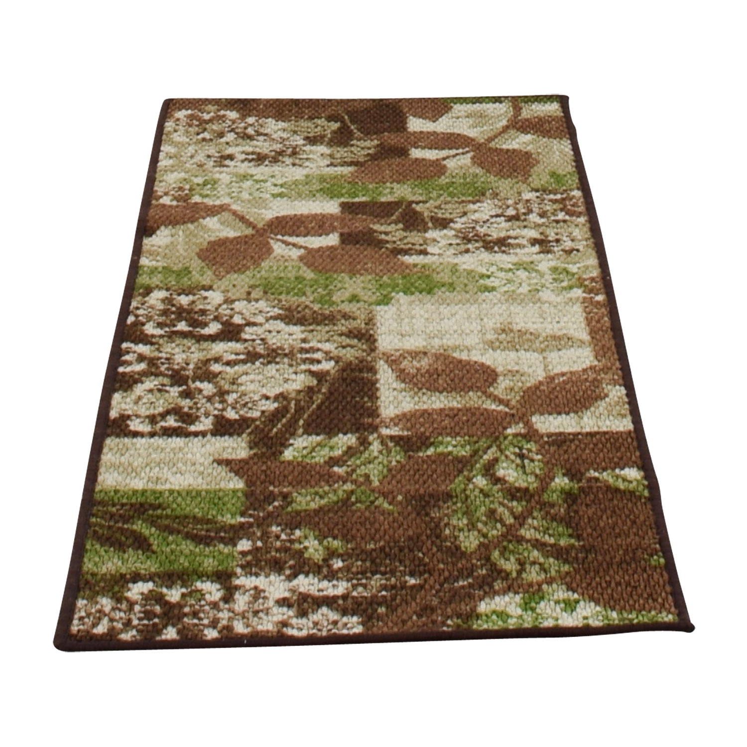 Green and Brown Floral Runner used