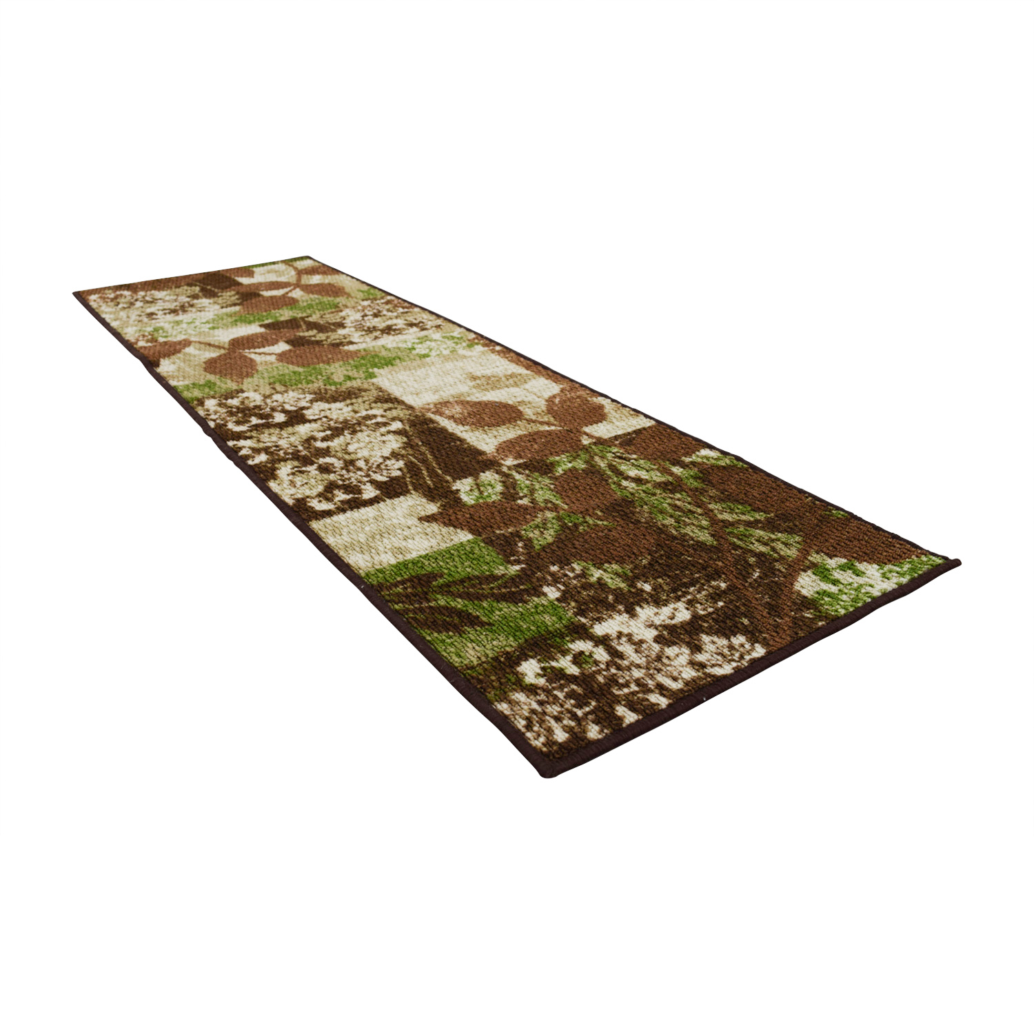 Green and Brown Floral Runner / Rugs
