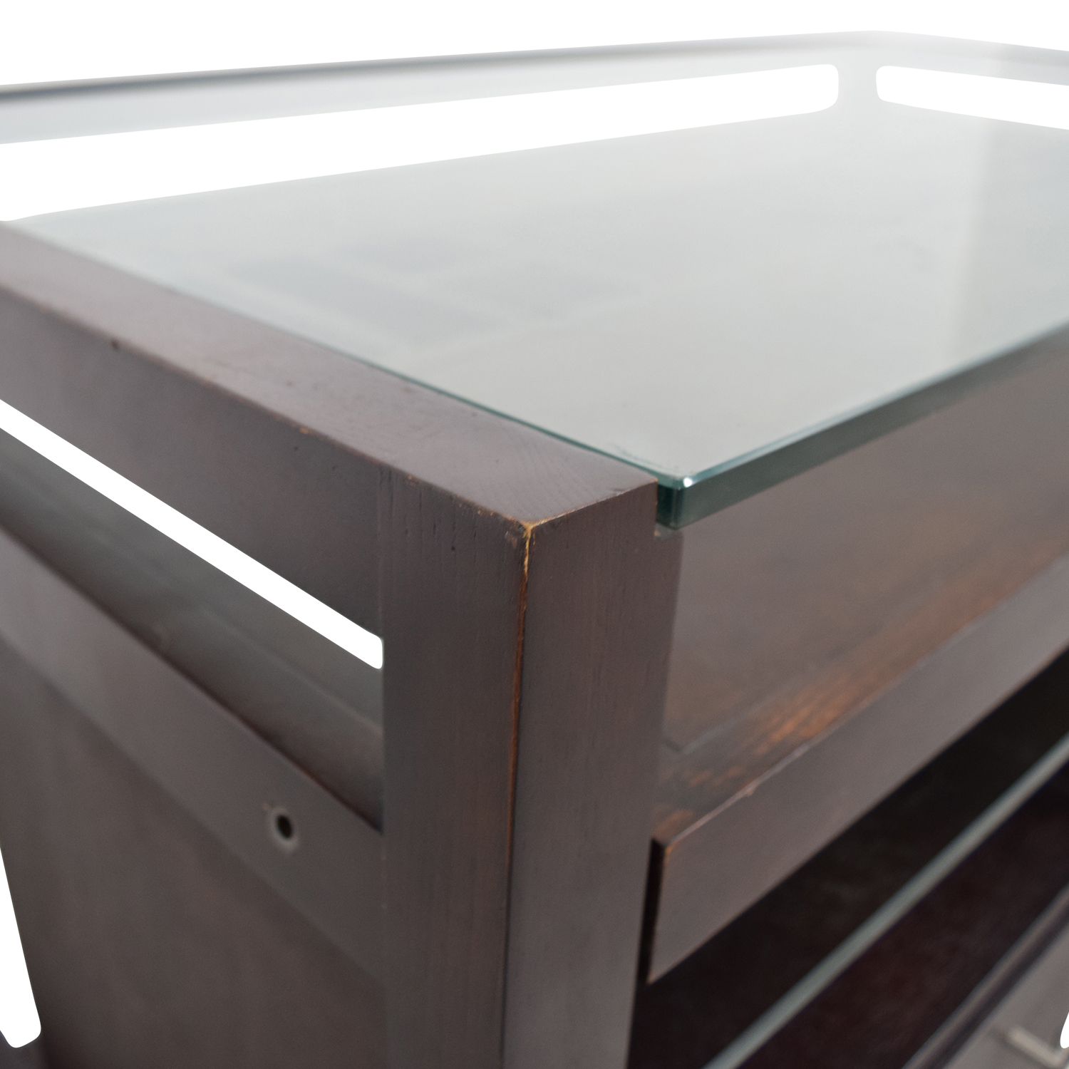 Glass-Top Dark Brown Wood Desk with File Cabinet nj