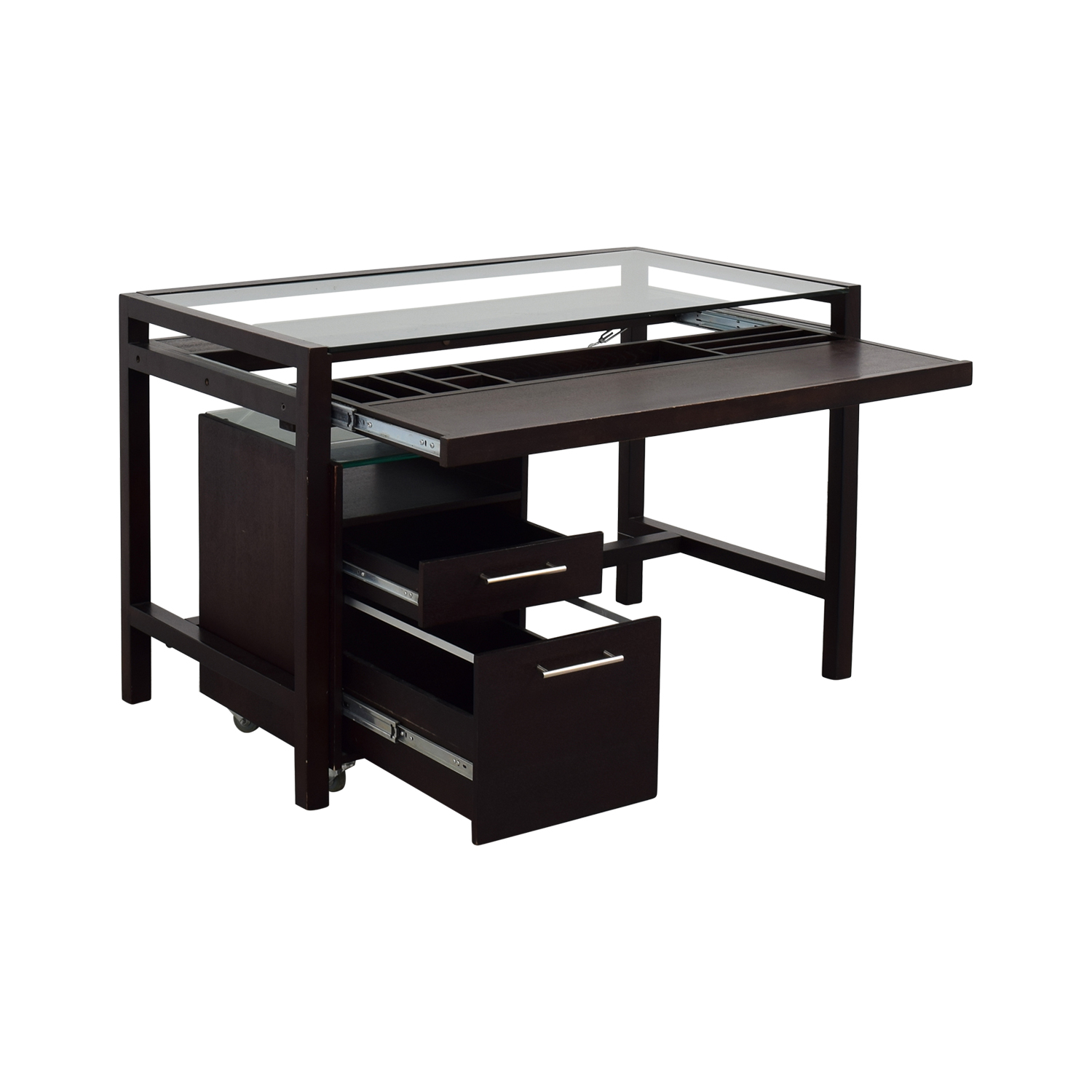 Glass-Top Dark Brown Wood Desk with File Cabinet sale