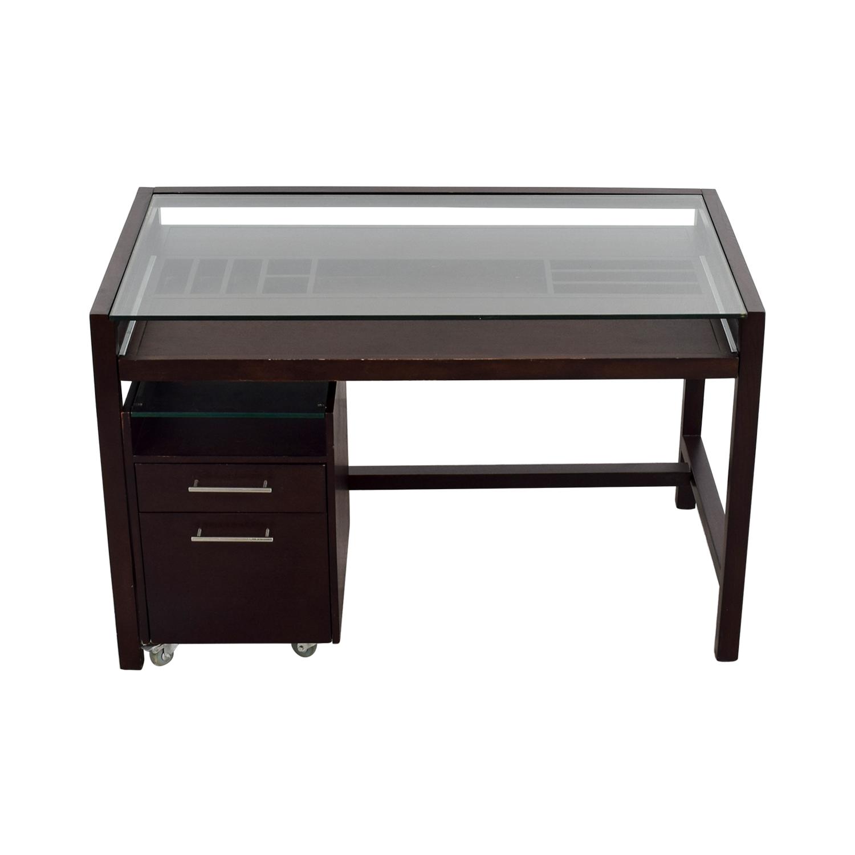 buy Glass-Top Dark Brown Wood Desk with File Cabinet online