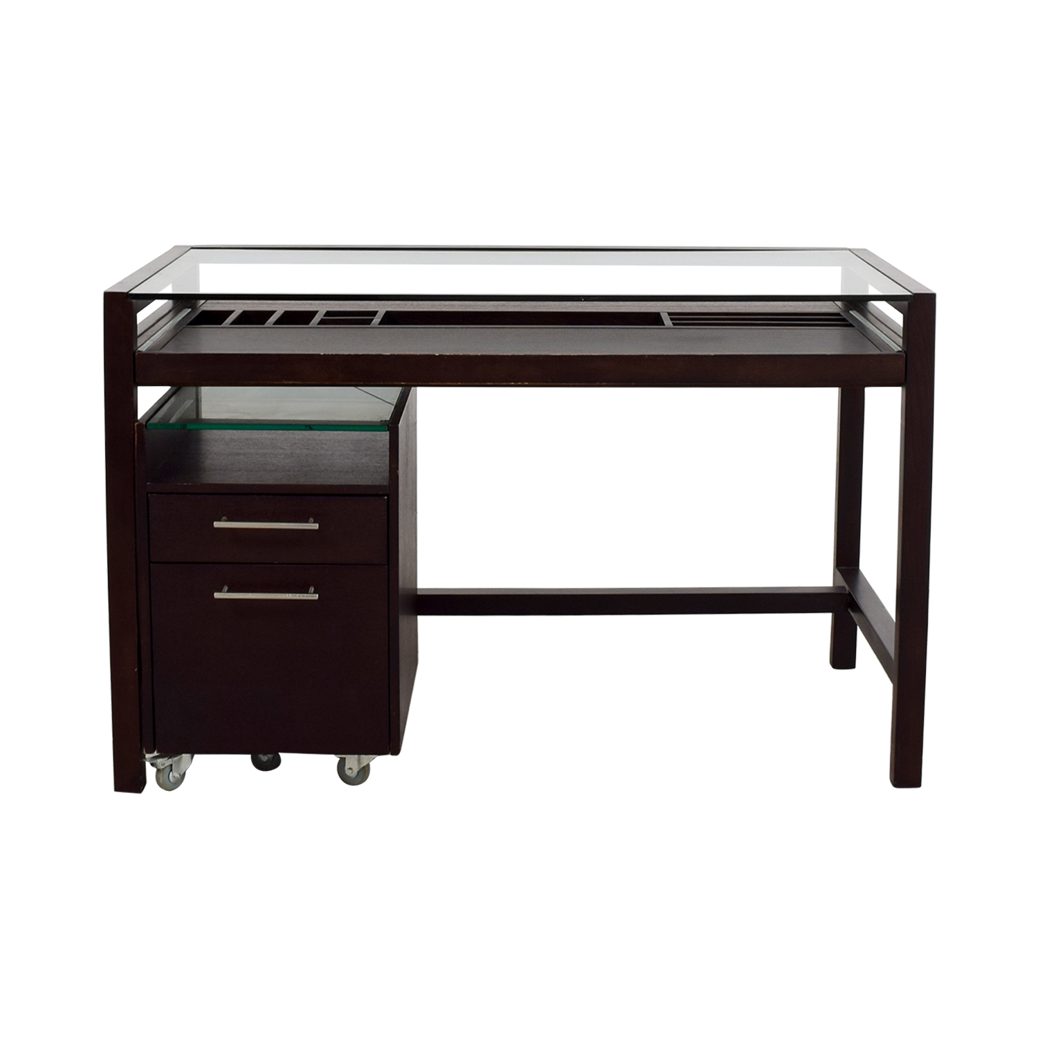 Picture of: 90 Off Glass Top Dark Brown Wood Desk With File Cabinet Tables