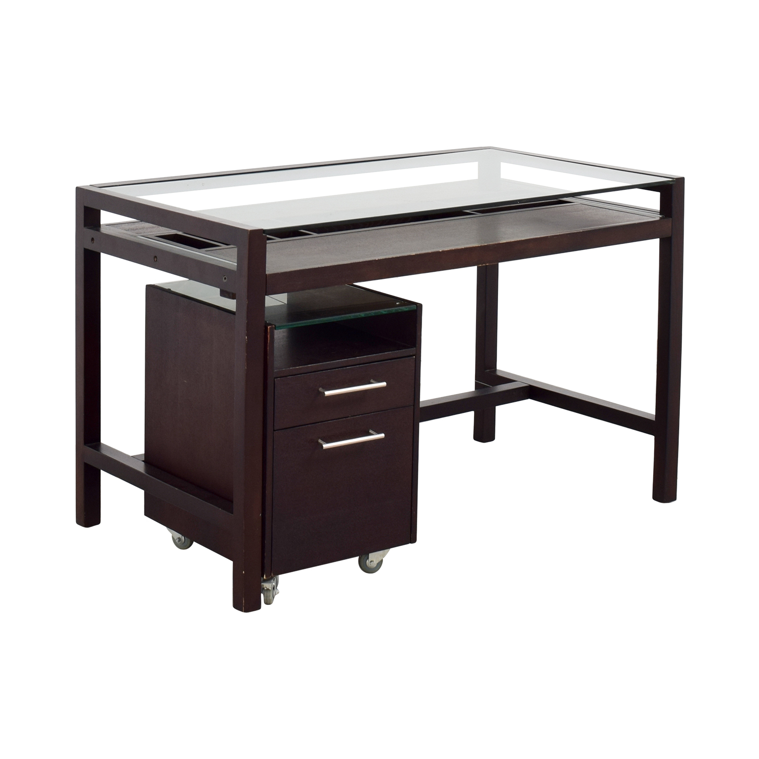 Glass-Top Dark Brown Wood Desk with File Cabinet second hand