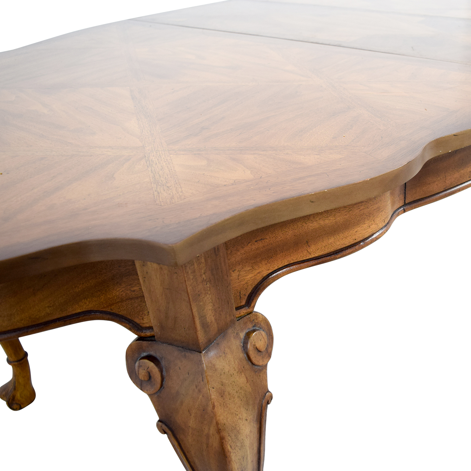 Carved Extendable Wood Dining Table Brown
