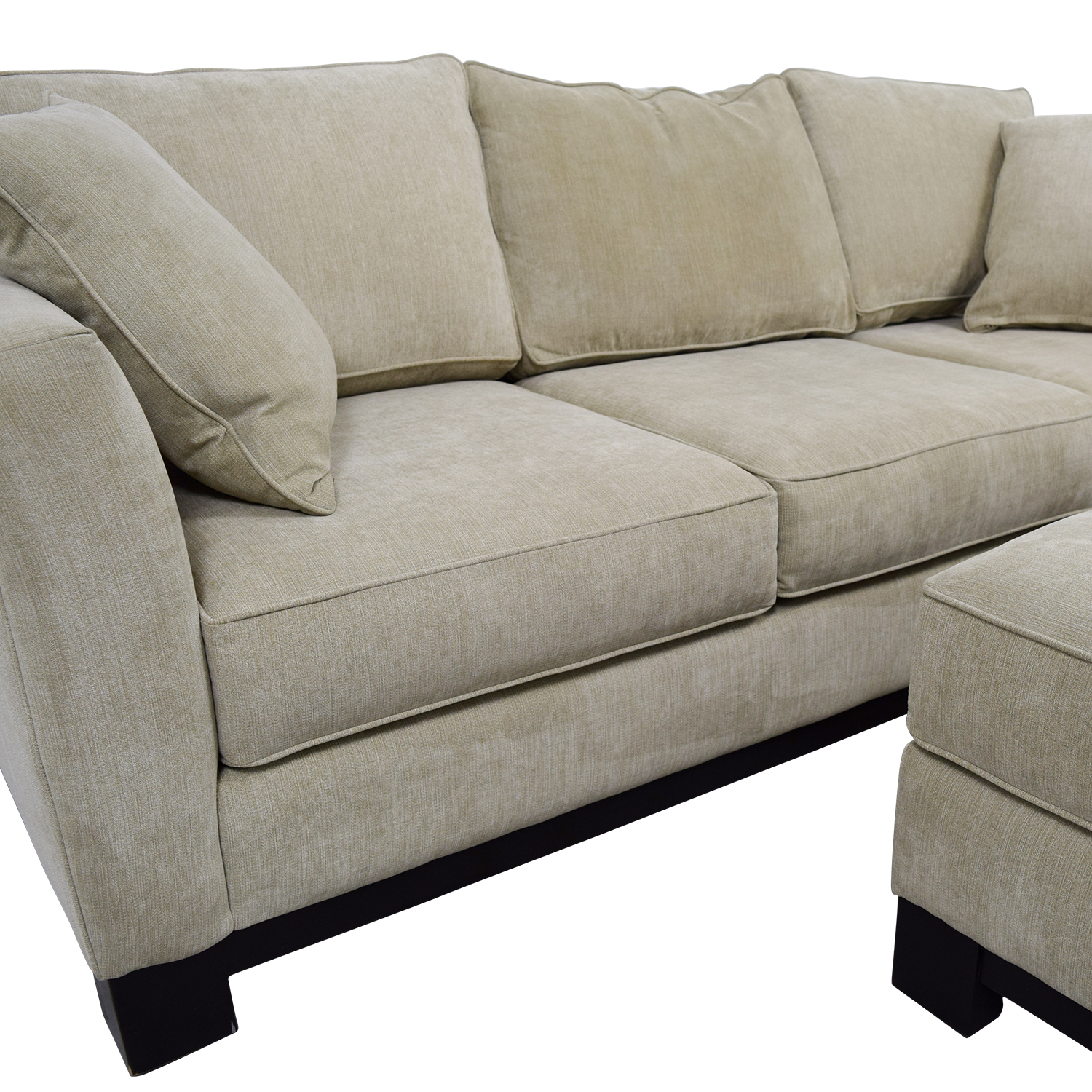 Macy's Grey Fabric Couch and Large Ottoman / Sofas