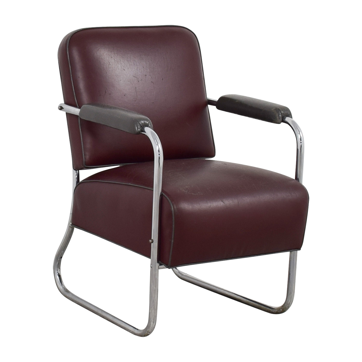 57% OFF Vintage Art Deco Leather Chair Chairs