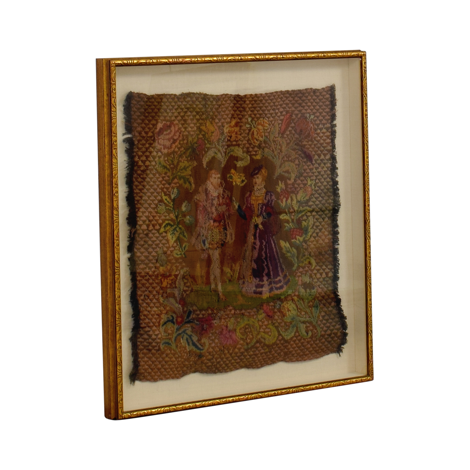 buy ABC Carpet and Home Framed Embroidered Tapestry of Man and Woman ABC Carpet and Home Wall Art