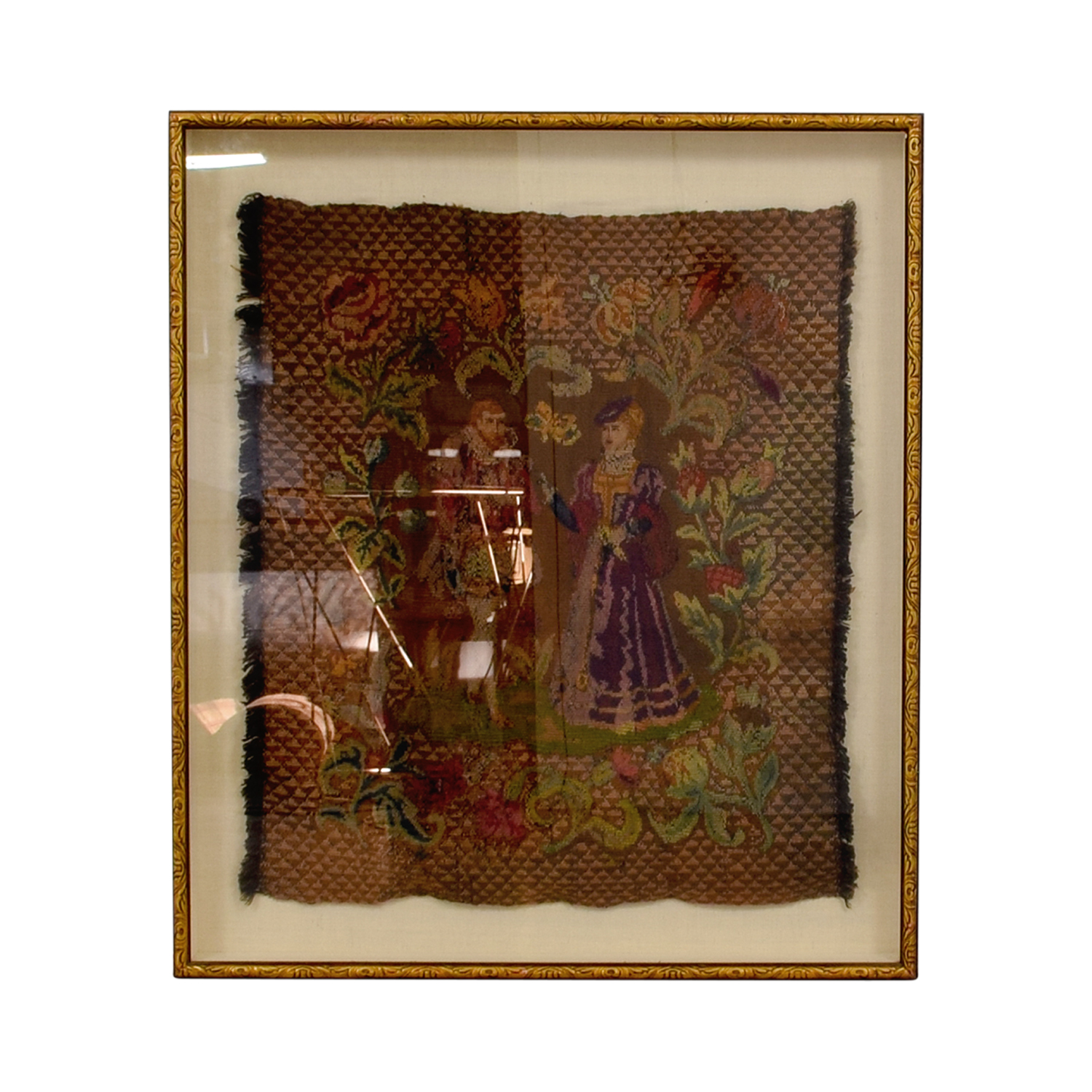 shop ABC Carpet and Home Framed Embroidered Tapestry of Man and Woman ABC Carpet and Home