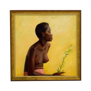 Caribbean Woman Acrylic Framed Painting nj