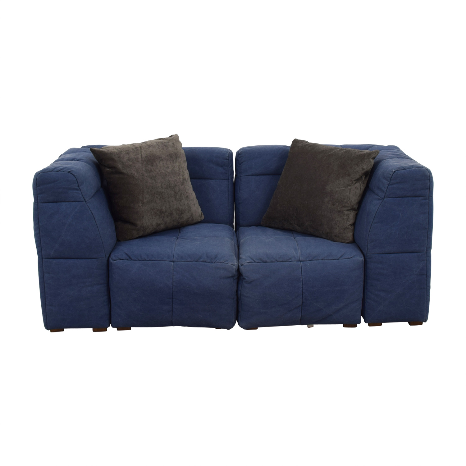Pottery Barn Pottery Barn Blue Corner Piece Loveseat for sale