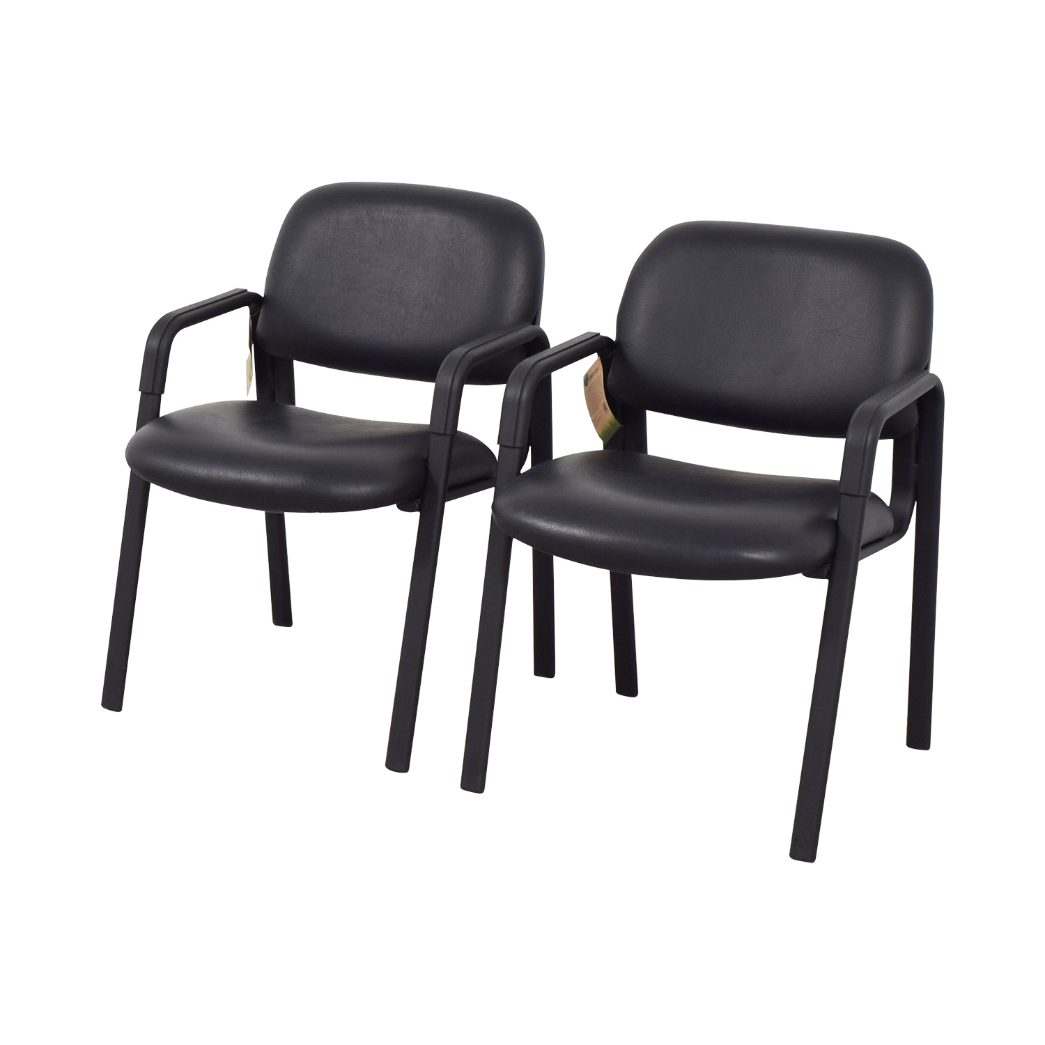 Urth Cava Black Leather Chairs / Chairs