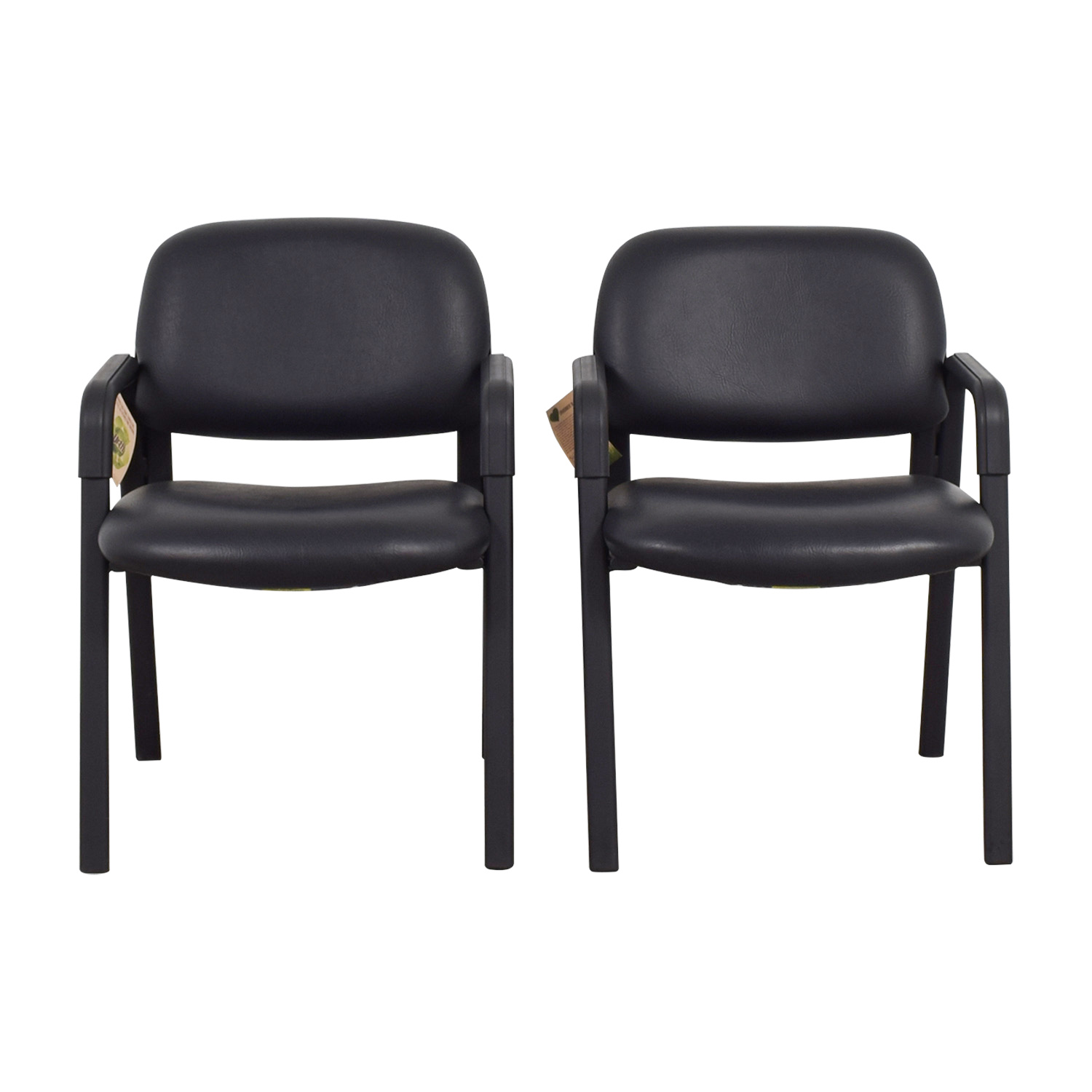 Urth Urth Cava Black Leather Chairs discount
