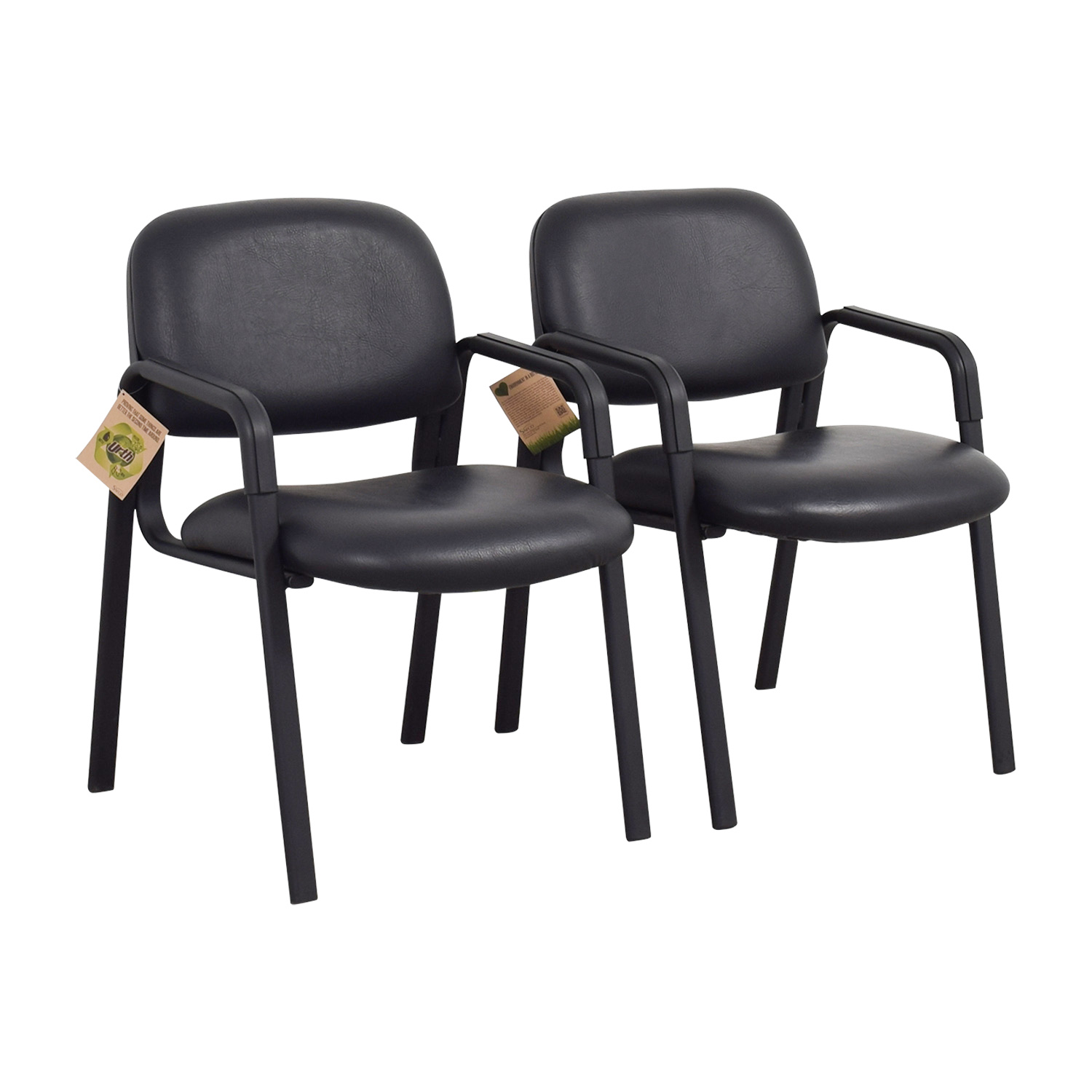 Urth Cava Black Leather Chairs Urth