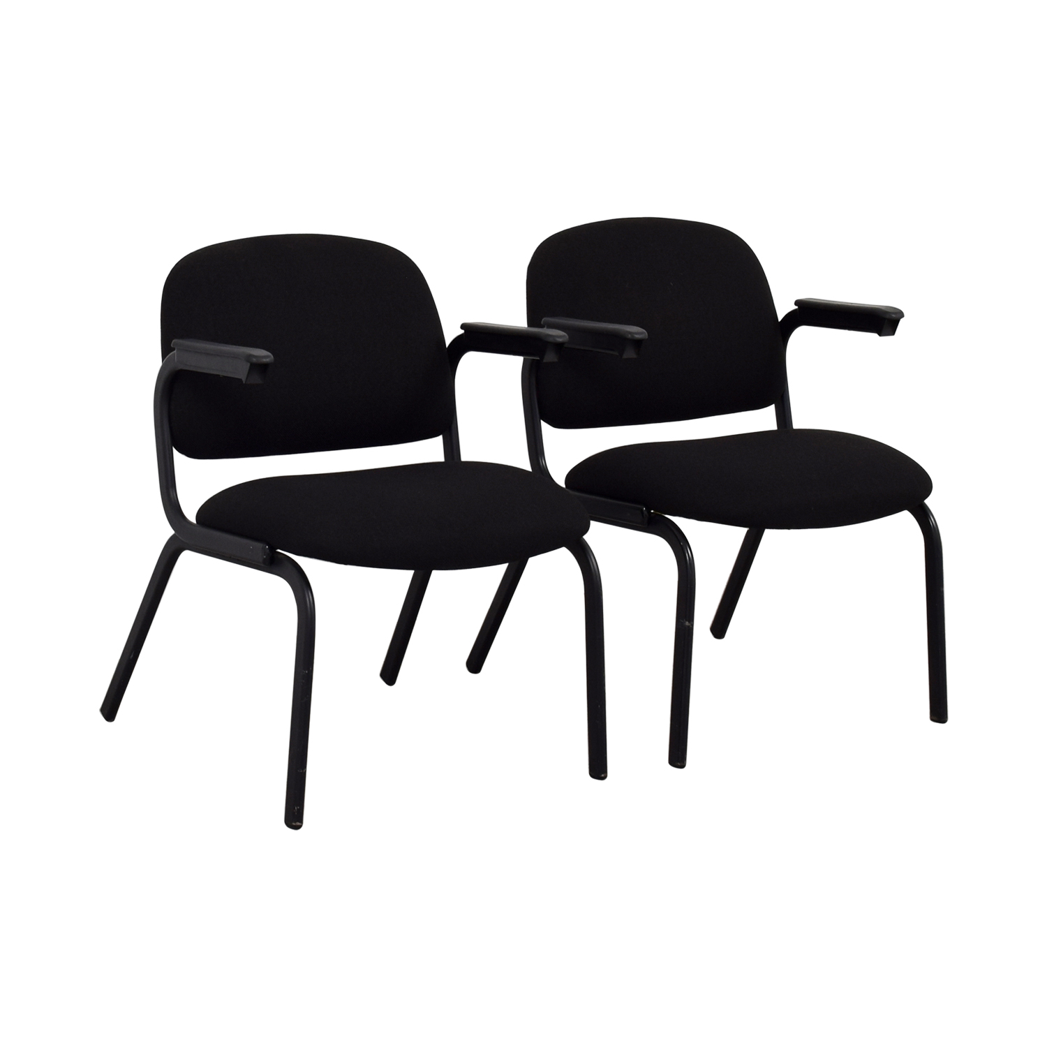 United United Black Fabric Chairs second hand