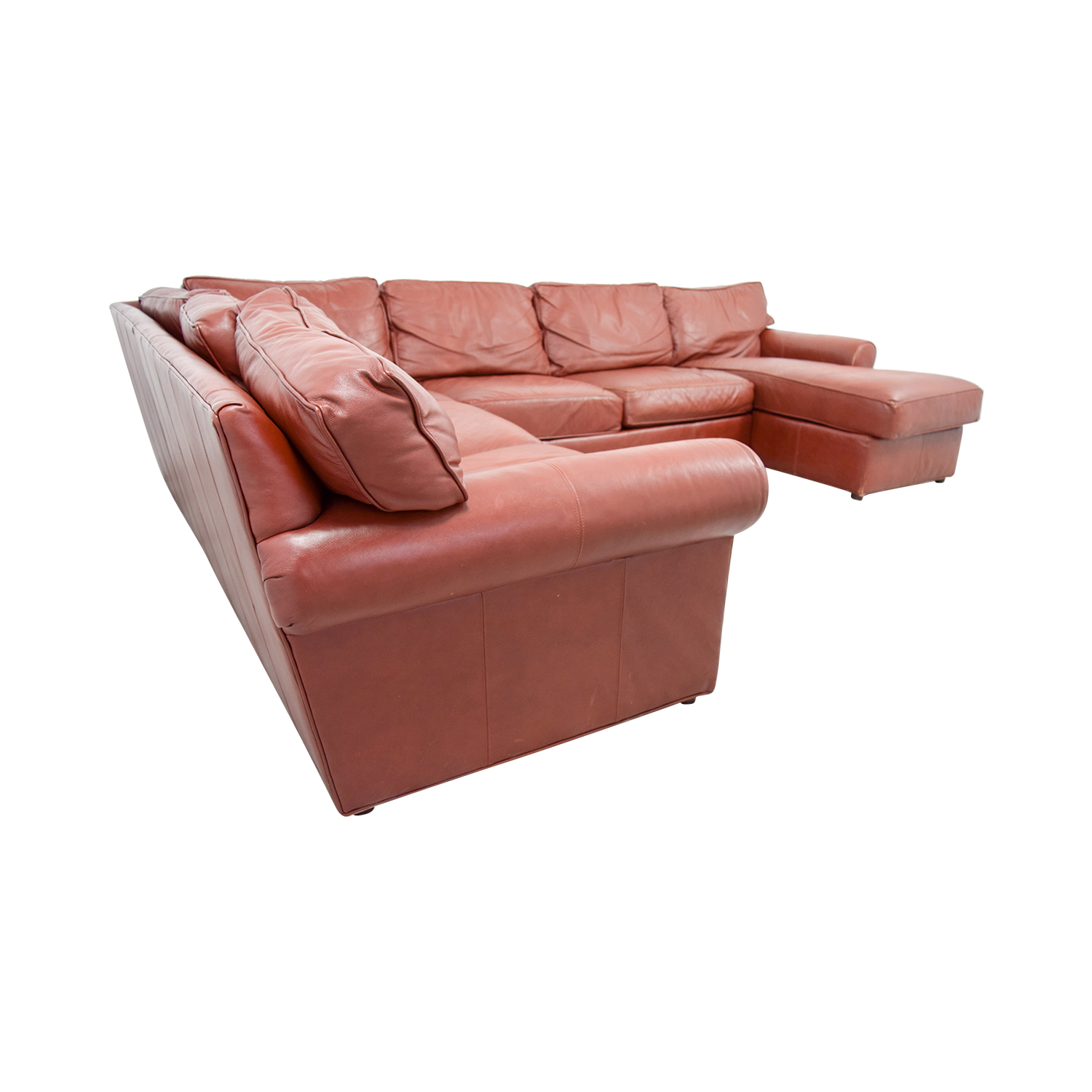 Ethan Allen Ethan Allen Burgundy Leather Sectional with Lounger