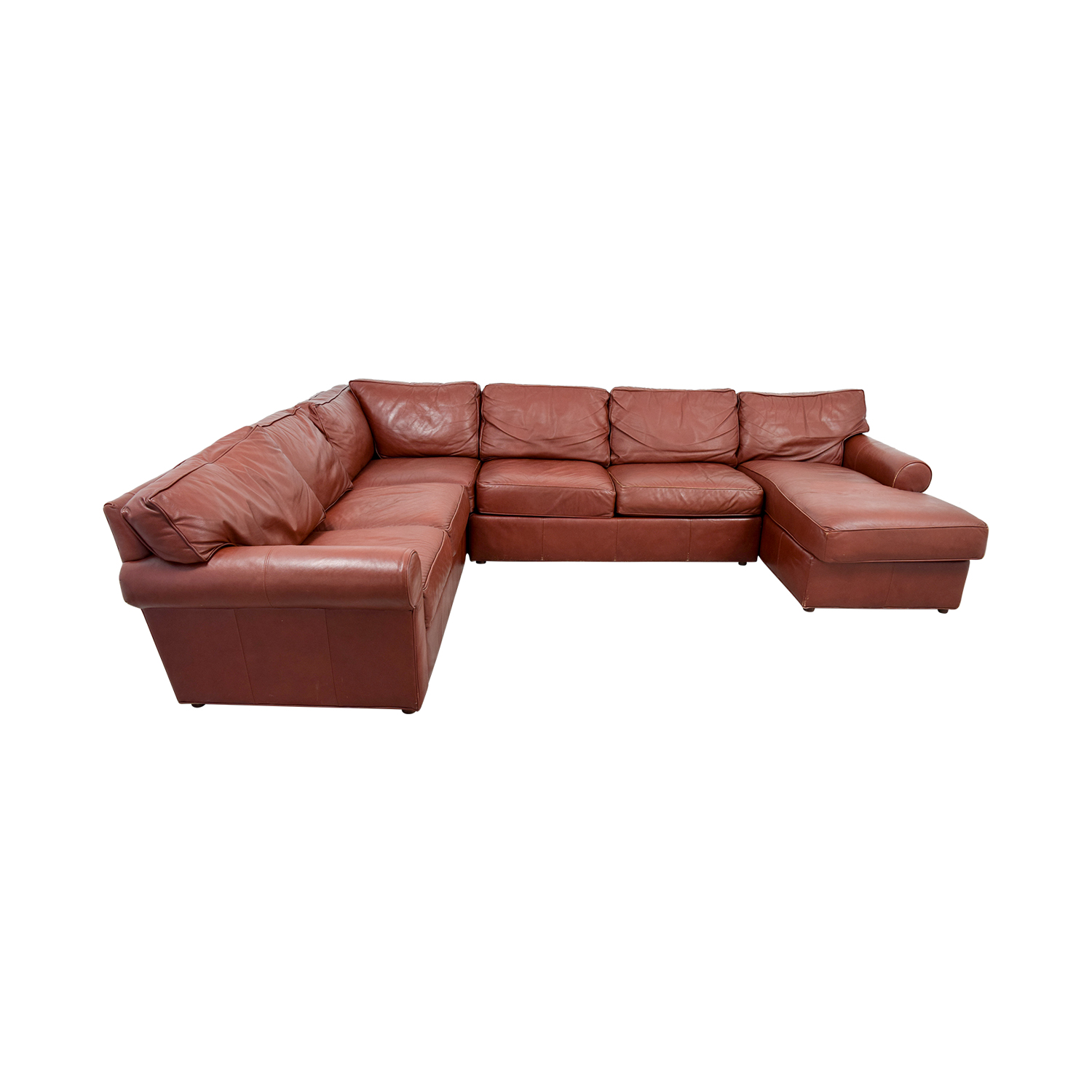 Ethan Allen Ethan Allen Burgundy Leather Sectional with Lounger nj