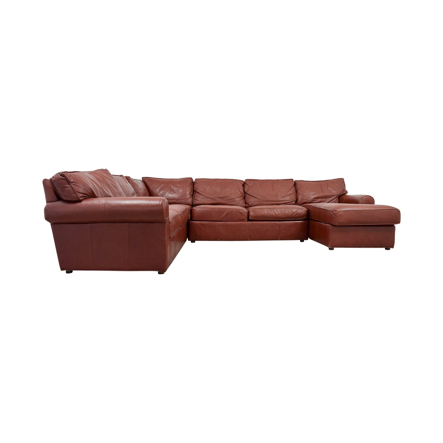 Ethan Allen Burgundy Leather Sectional with Lounger Ethan Allen