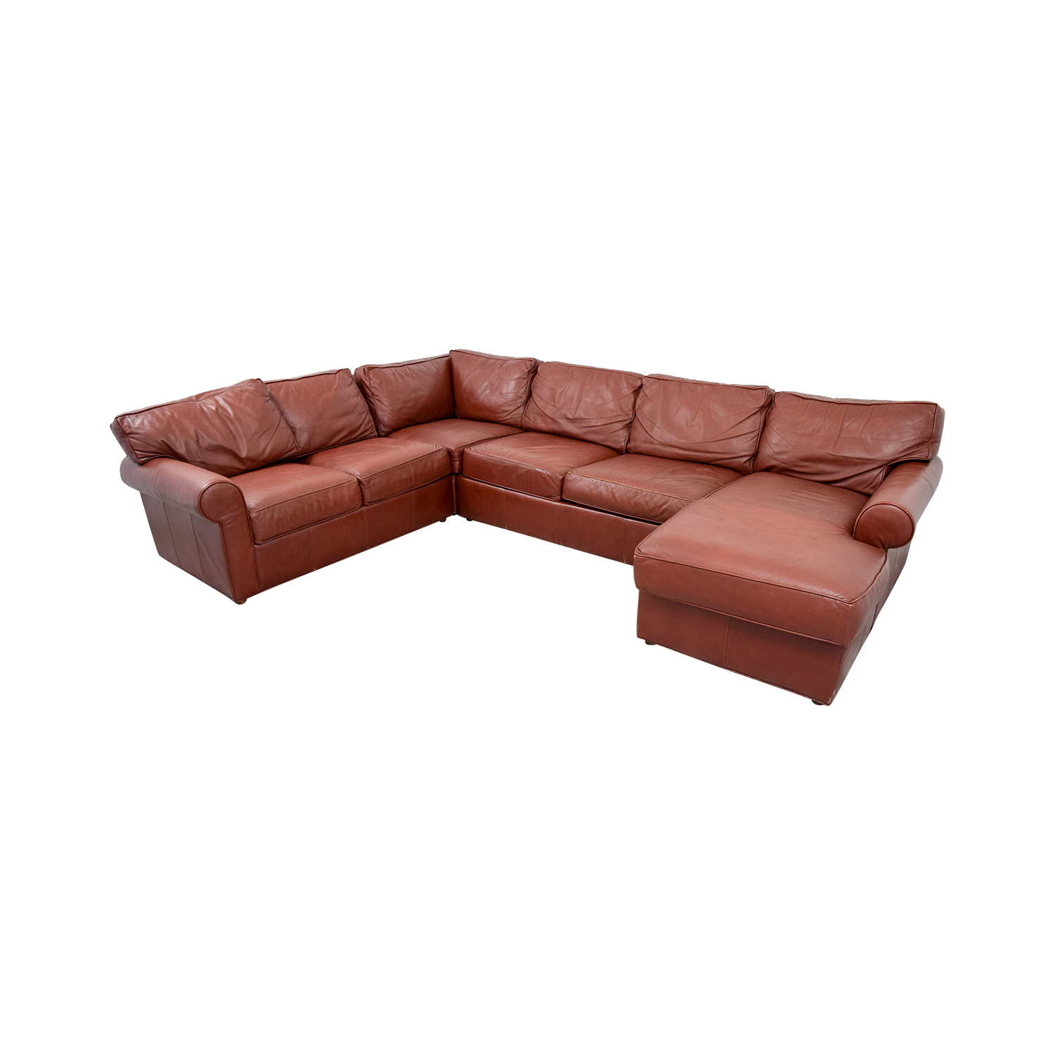 Ethan Allen Burgundy Leather Sectional with Lounger / Sofas