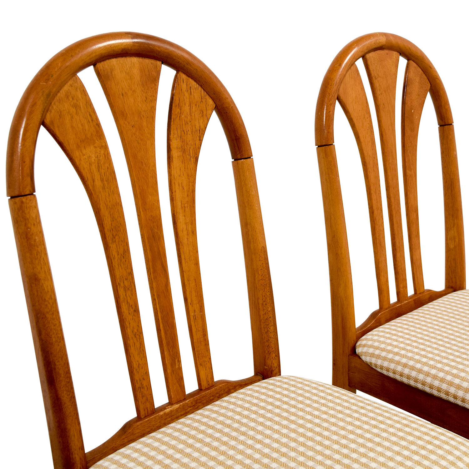 Gingham Upholstered Wood Chairs Dining Chairs
