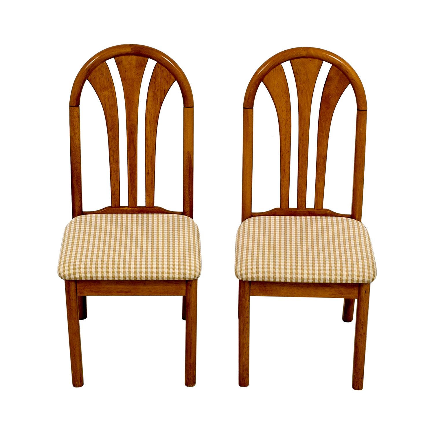 Gingham Upholstered Wood Chairs used