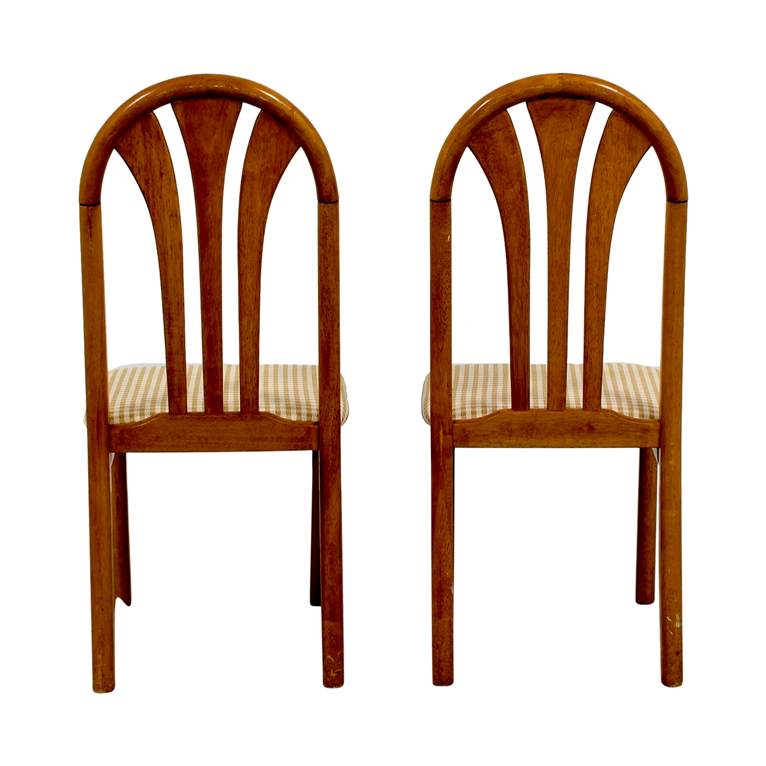Gingham Upholstered Wood Chairs tan