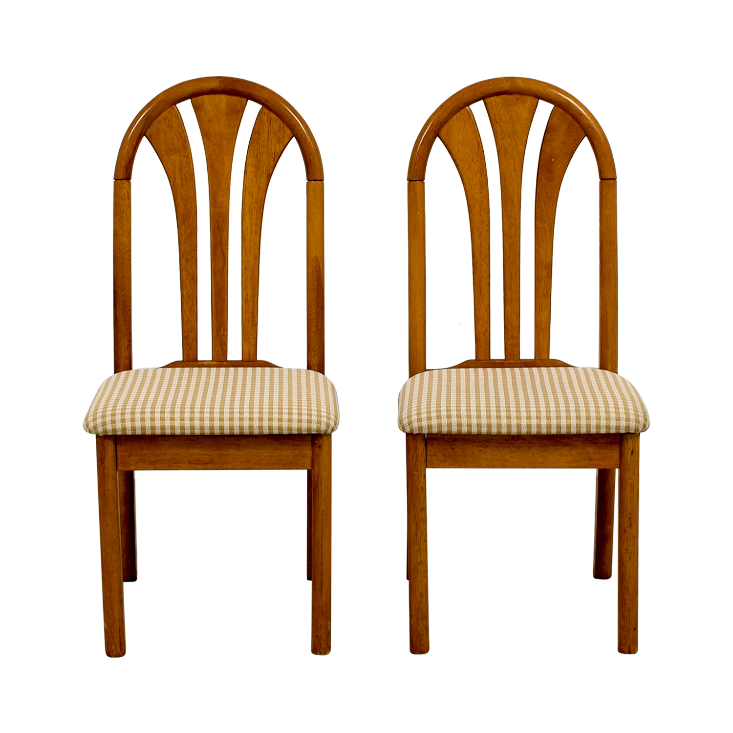 Gingham Upholstered Wood Chairs on sale