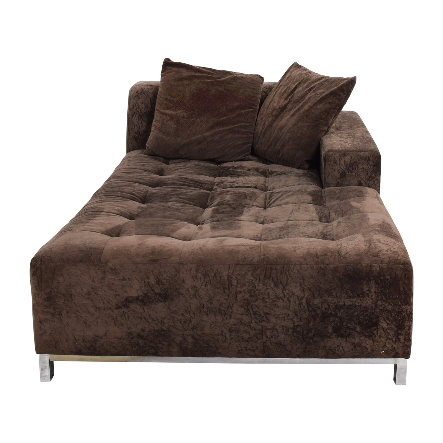 Safaviah Safaviah Brown Tufted Chaise Lounge for sale
