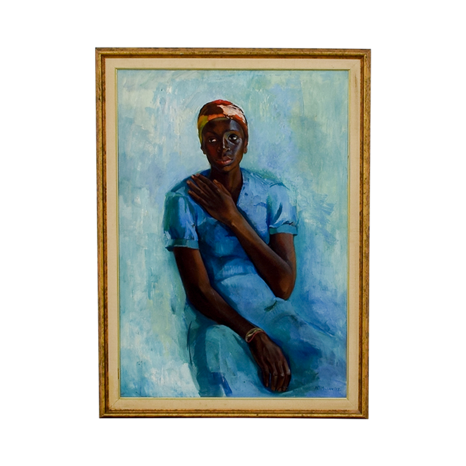 Woman in Blue Framed Print dimensions
