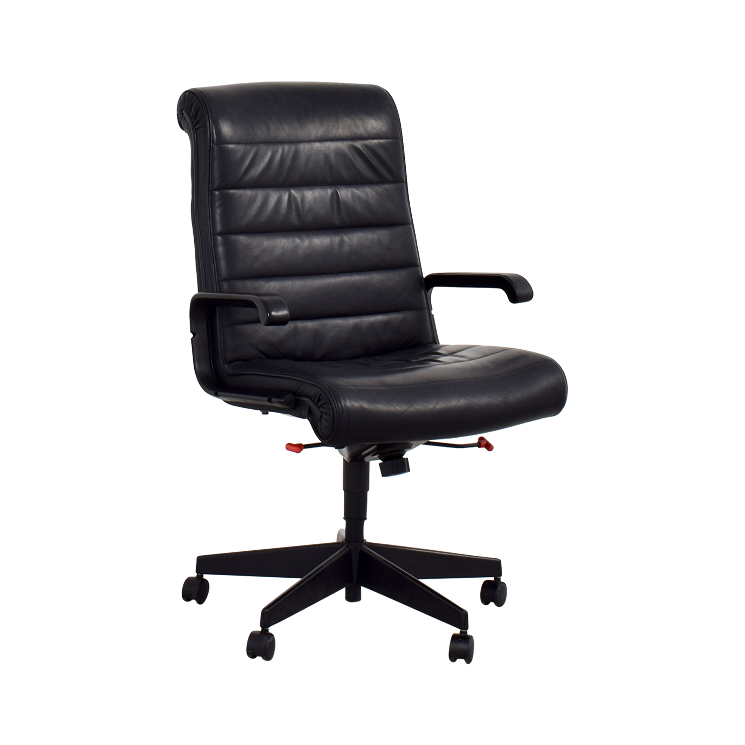 90 Off Black Leather Office Chair Chairs