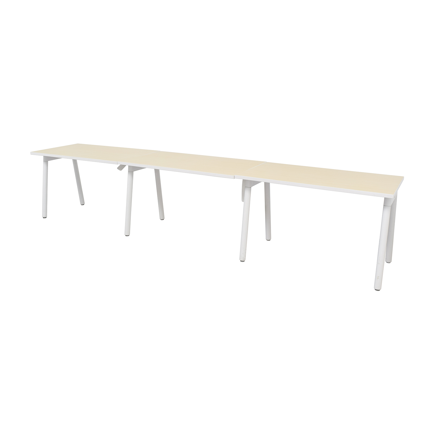 Poppin White and Natural Office Desk / Tables
