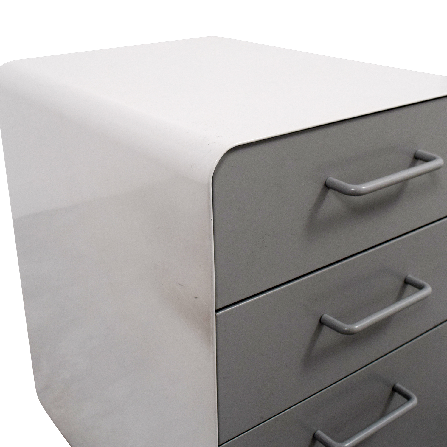 Poppin Poppin Light Grey and White Three-Drawer File Cabinet Filing & Bins