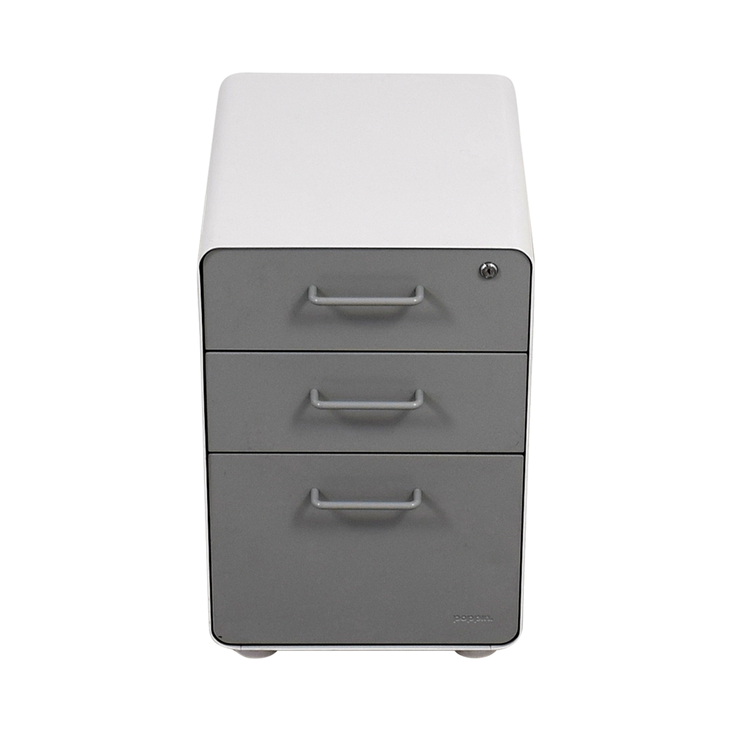 Poppin Light Grey and White Three-Drawer File Cabinet / Filing & Bins