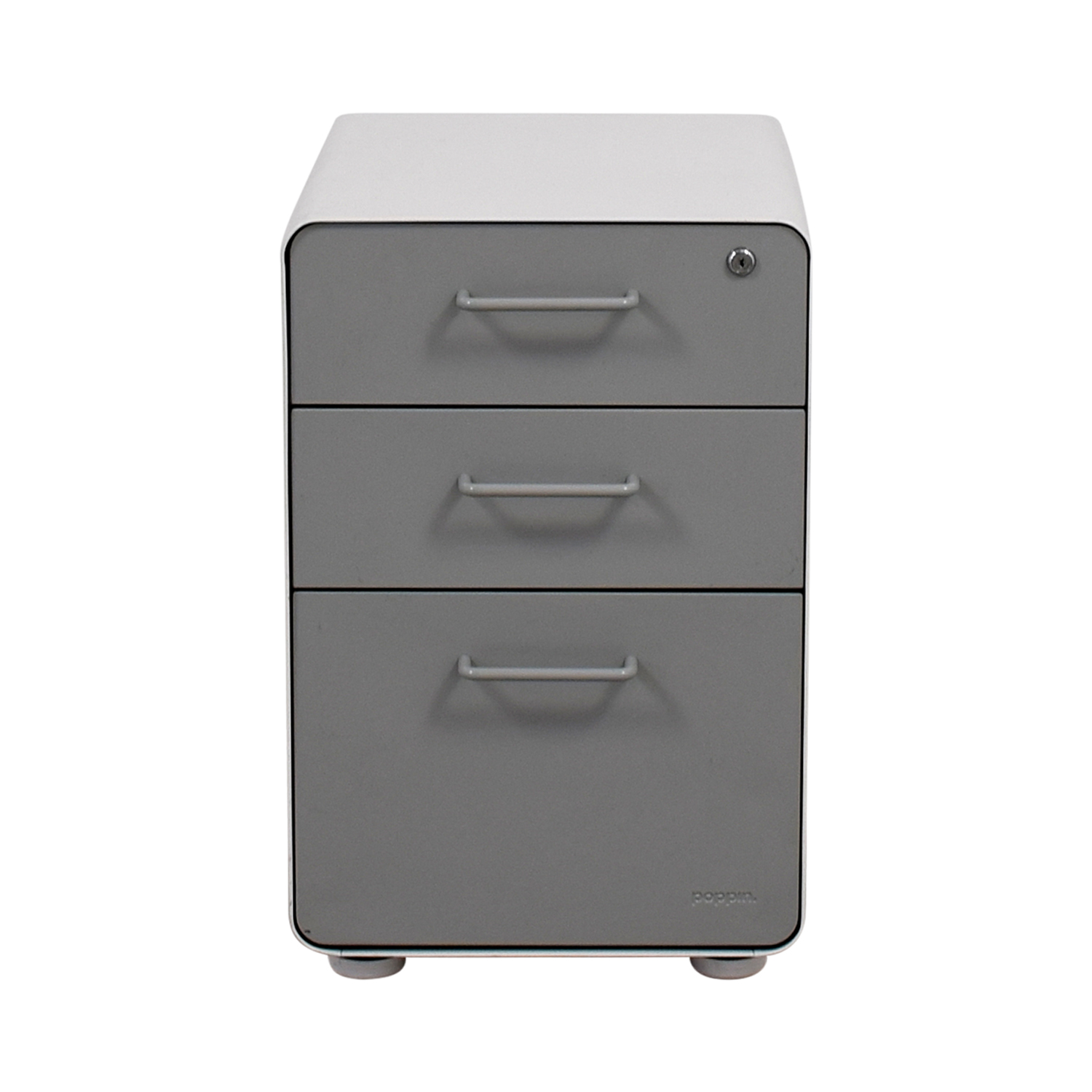 Poppin Light Grey and White Three-Drawer File Cabinet / Storage