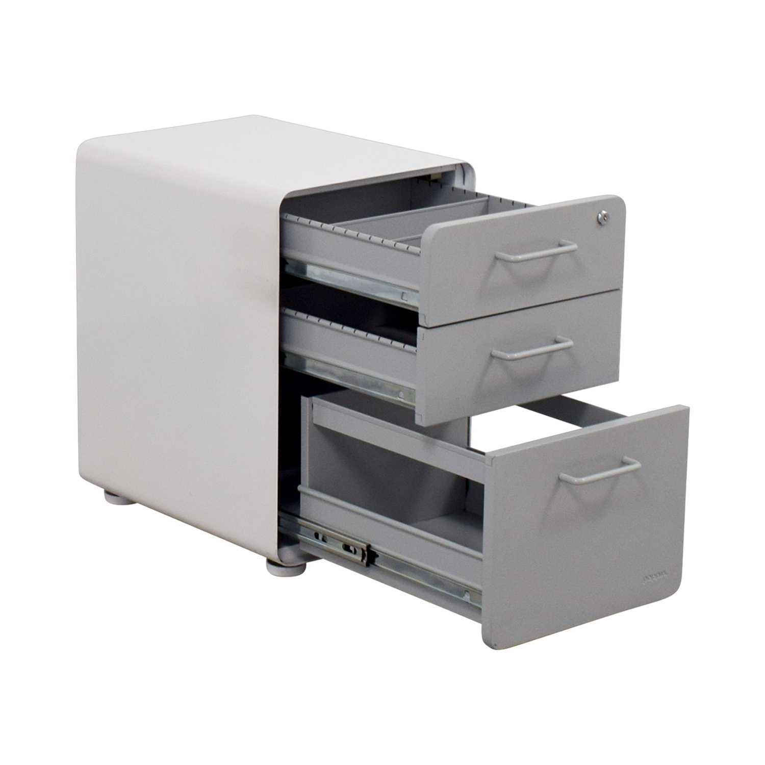Poppin Poppin Light Grey and White Three-Drawer File Cabinet on sale