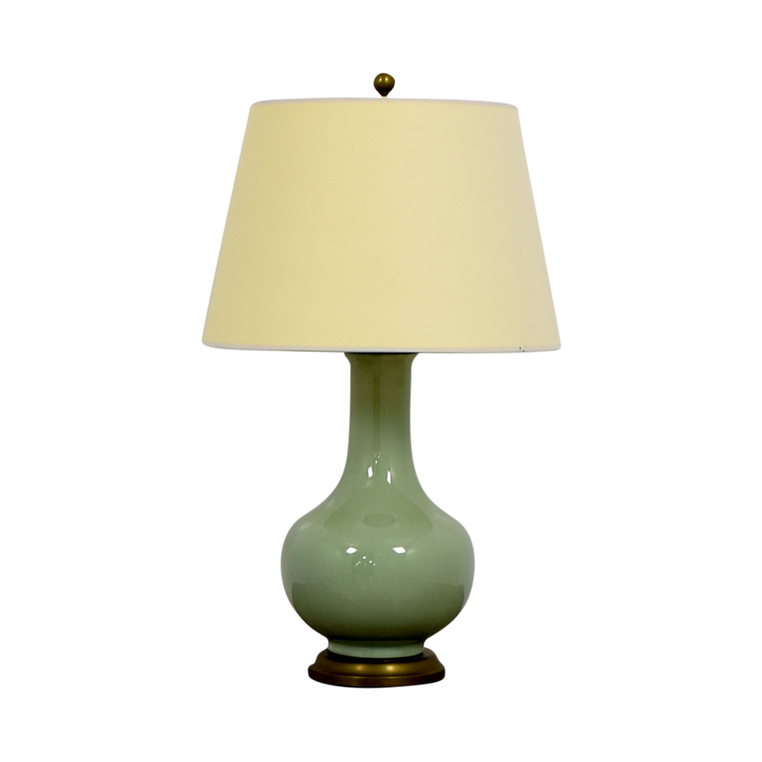 Williams Sonoma Home Mint Green Ceramic and Brass Table Lamp / Lamps