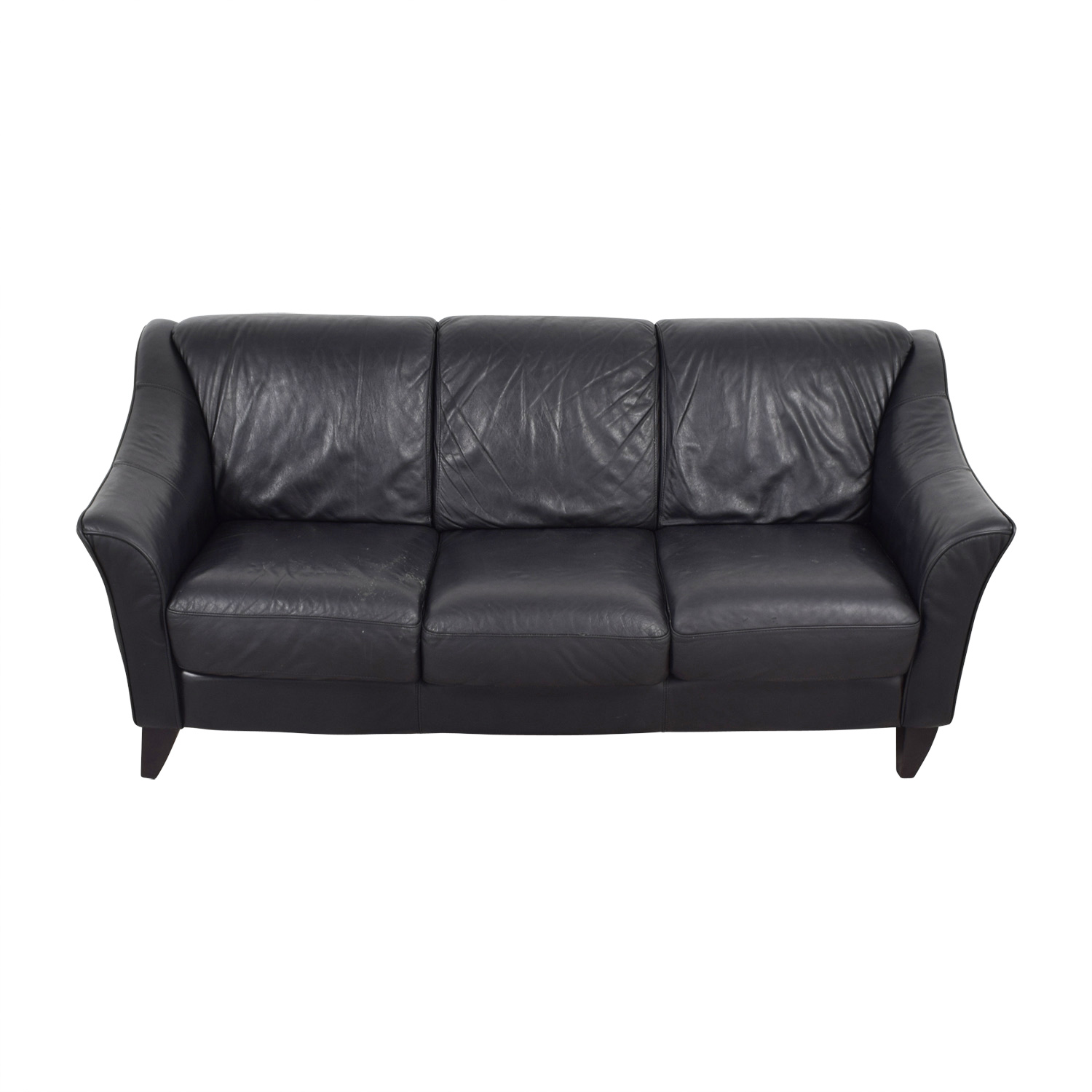 buy Bloomingdales Three-Cushion Black Leather Sofa Bloomingdales