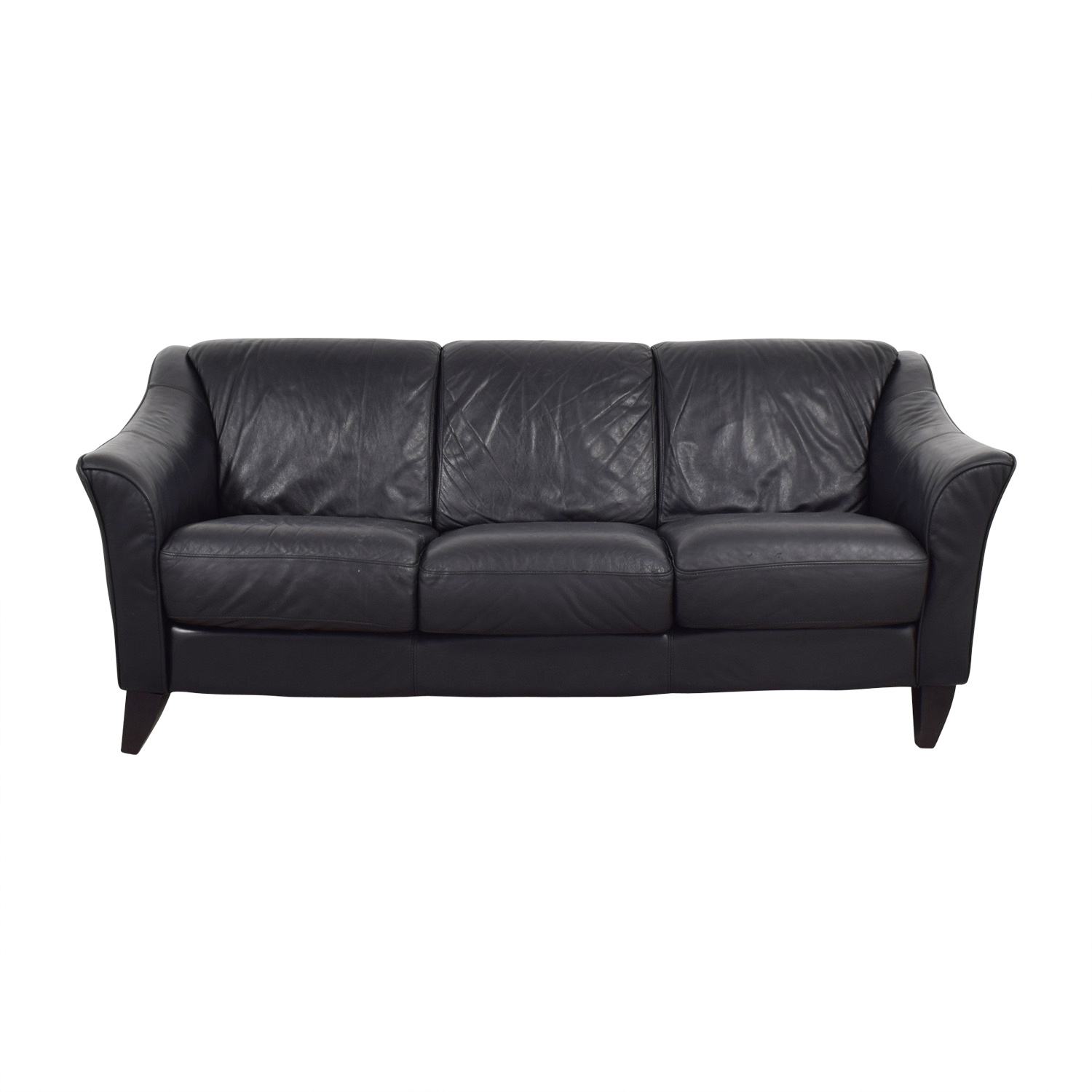shop Bloomingdales Bloomingdales Three-Cushion Black Leather Sofa online