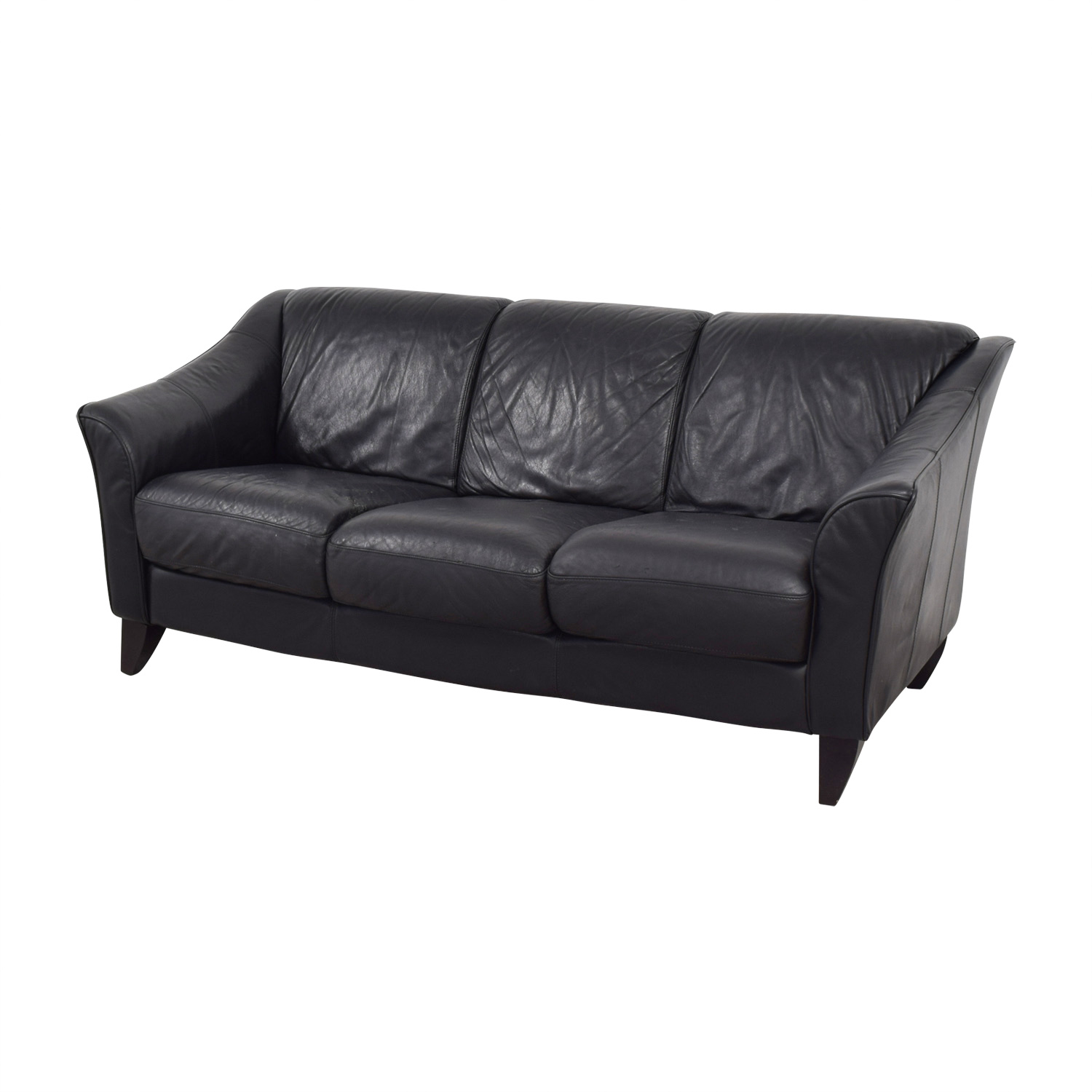 ... Bloomingdales Three Cushion Black Leather Sofa / Sofas ...