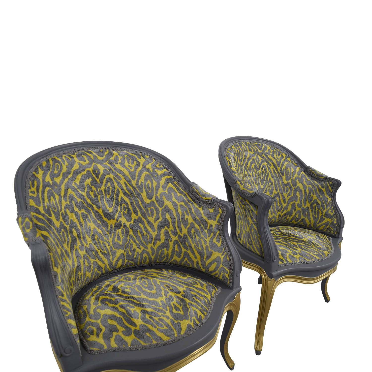 Country French Grey and Yellow Accent Chairs sale