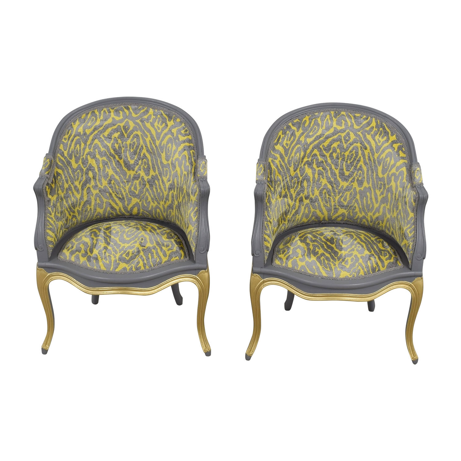 Country French Grey and Yellow Accent Chairs