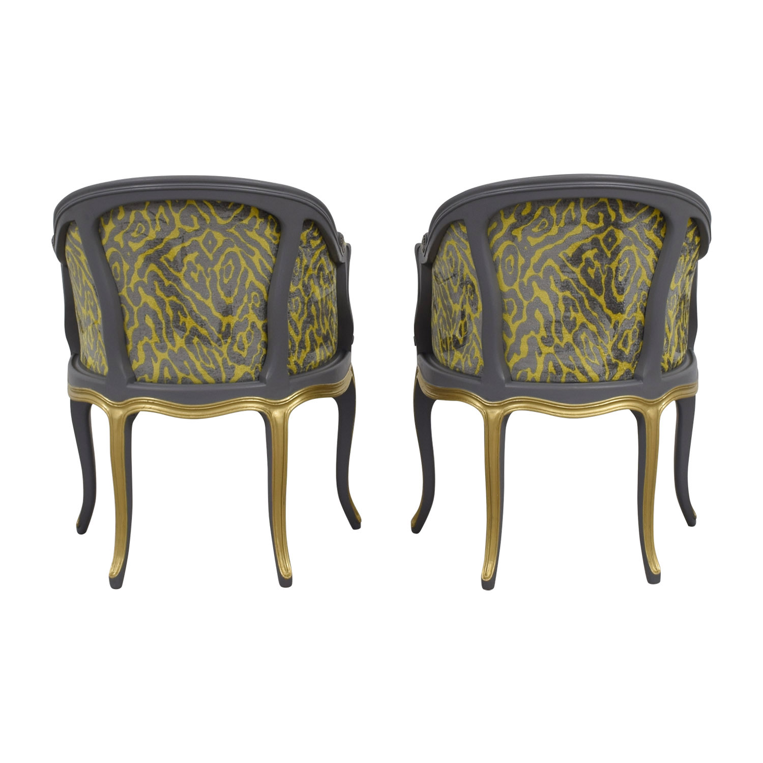 Country French Grey and Yellow Accent Chairs for sale