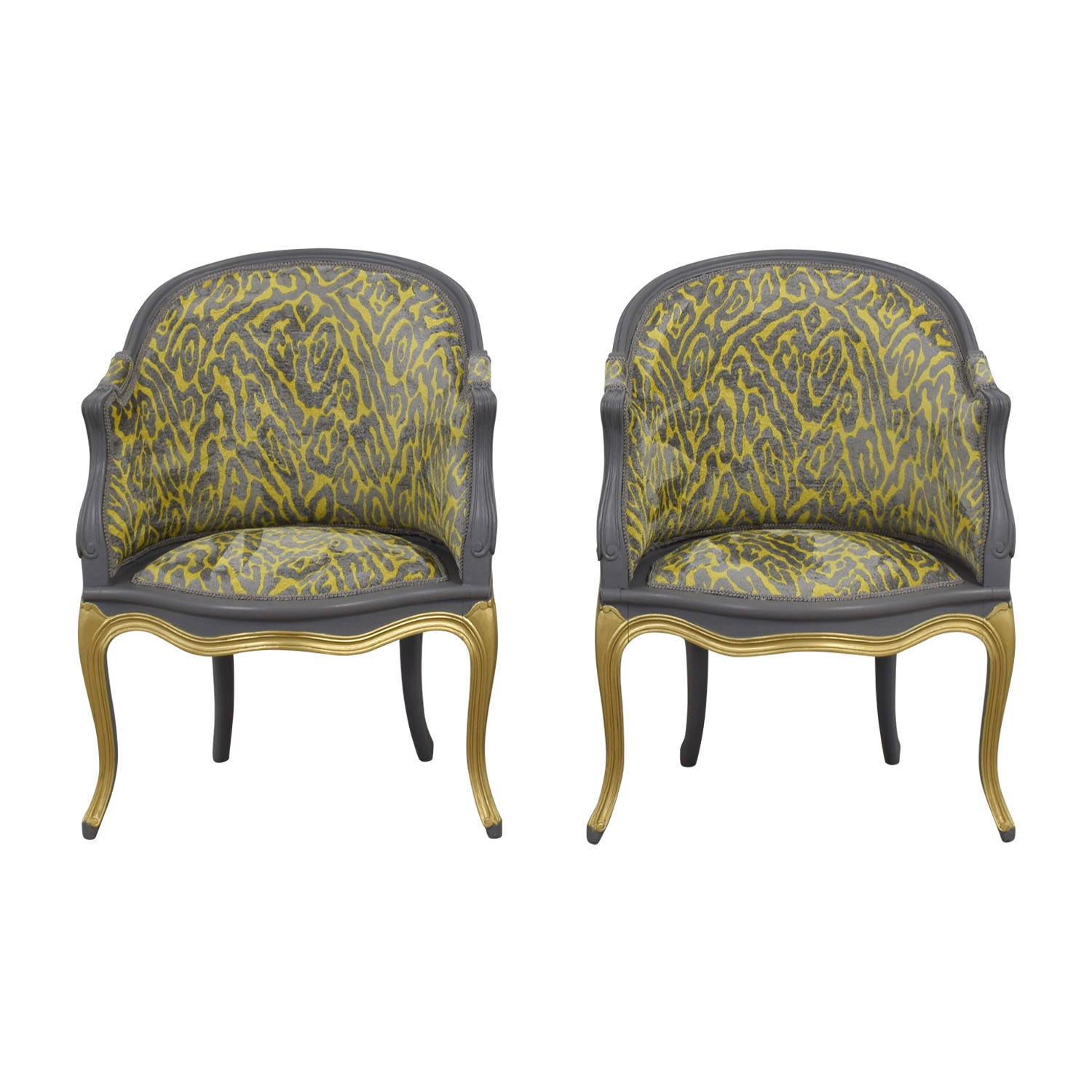 90% OFF - Country French Grey and Yellow Accent Chairs ...