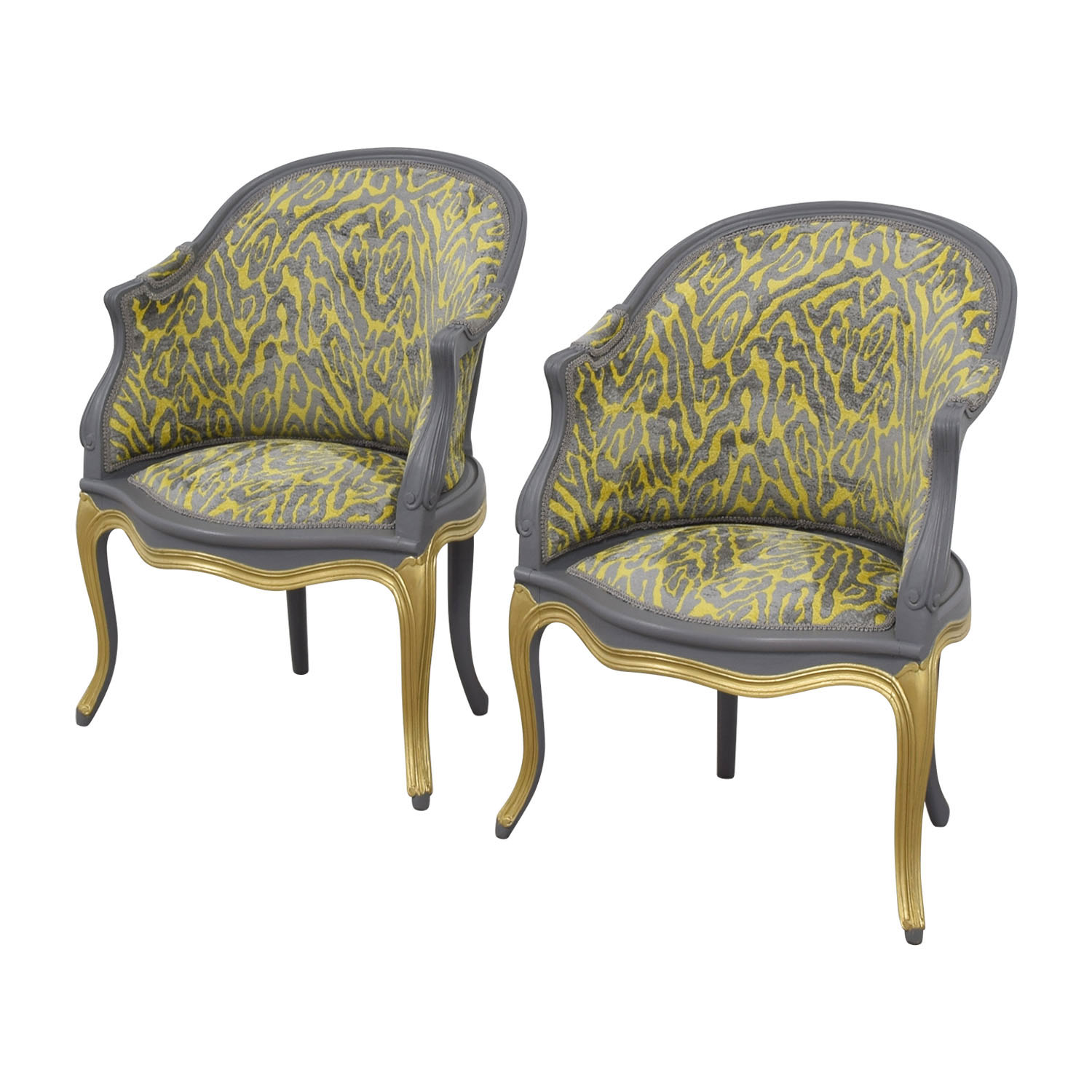 Country French Grey and Yellow Accent Chairs on sale